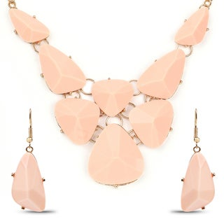 Liliana Bella Gold Plated Peach Stone Bib Necklace and Earrings Set