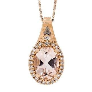 Anika and August 14k Rose Gold Morganite and 1/8ct TDW Diamond Pendant (G-H, I1-I2)