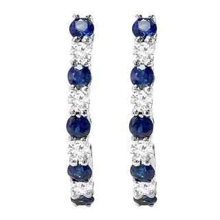 Elora 18k White Gold 1/2ct TGW Round Blue Sapphire and Diamond Accent Hoop Earrings (I-J, I2-I3 )