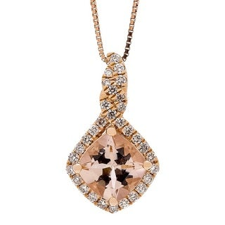 14K Rose Gold Morganite and Diamond Pendant by Anika and August (G-H, I1-I2)