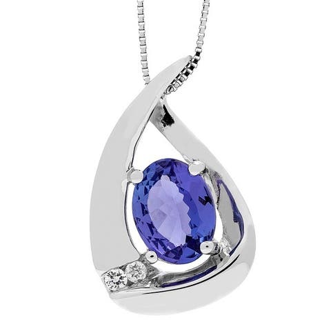 925 Sterling Silver Tanzanite and Diamond Pendant by Anika and August