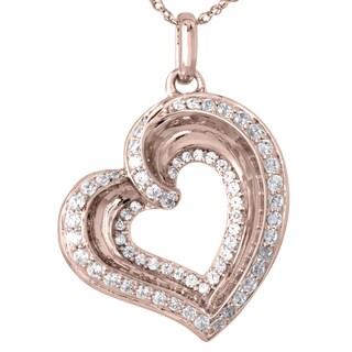 10k Rose Gold 1/2ctTW Diamond Double Heart Pendant
