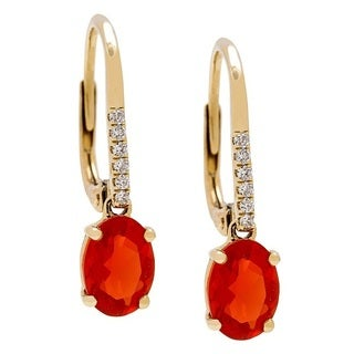 14K Yellow Gold Fire Opal and Diamond Earrings by Anika and August