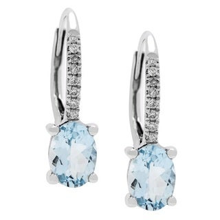 Anika and August 18k White Gold Aquamarine and Diamond Accent Earrings