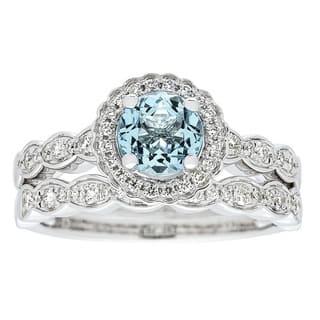 Anika and August 14k White Gold Aquamarine and 3/8ct TDW Diamond Ring (G-H, I1-I2)|https://ak1.ostkcdn.com/images/products/14420308/P20987715.jpg?impolicy=medium