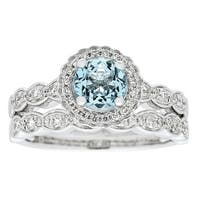 Anika and August 14k White Gold Aquamarine and 3/8ct TDW Diamond Bridal set Ring (G-H, I1-I2)
