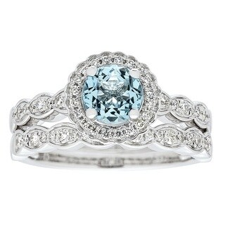 Anika and August 14k White Gold Aquamarine and 3/8ct TDW Diamond Ring (G-H, I1-I2)