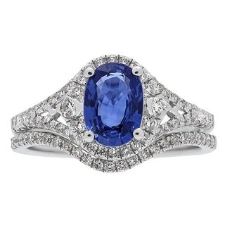 Anika and August 14k White Gold Blue Sapphire and 1/2ct TDW Diamond Ring (G-H, I1-I2)