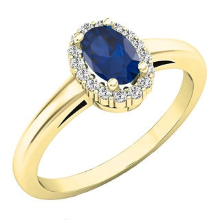 Elora 14k Gold 3/4ct TGW Oval-cut Blue Sapphire and Diamond Accent Bridal Ring Set (I-J)