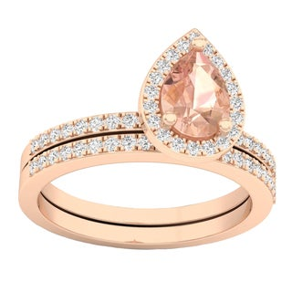Elora 10k Rose Gold Pear Morganite and 2/5ct TDW White Diamond Bridal Set (I-J, I2-I3)