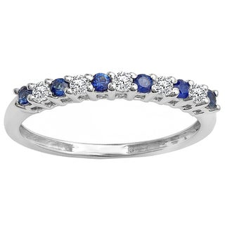 Elora 10k White Gold 1ct TGW Round Blue Sapphire and White Diamond Accent Stackable Wedding Band (H-I, I1-I2)