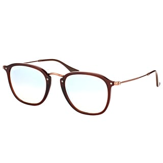 Ray-Ban RB 2448N 62569U Shiny Transparent Brown Plastic Square Sunglasses with Grey Flash Mirror Gradient Lens