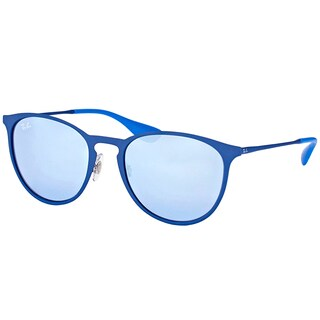 Ray-Ban RB 3539 90221U Erika Rubber Electric Blue Metal Round Sunglasses with Grey Flash Mirror Lens