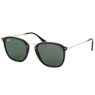 Ray-Ban RB 2448N 901 Black Plastic Square Sunglasses with Green Lens