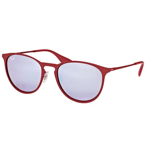 Ray-Ban RB 3539 9023B5 Erika Rubber Bordeaux Metal Round Sunglasses with Grey Flash Mirror Lens