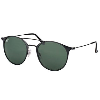 Ray-Ban RB 3546 186 Black Top Matte Black Metal Round Sunglasses with Green Lens