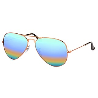 Ray-Ban RB 3025 9018C3 Classic Aviator Bronze Copper Metal Sunglasses with Blue Rainbow Flash Mirror Lens