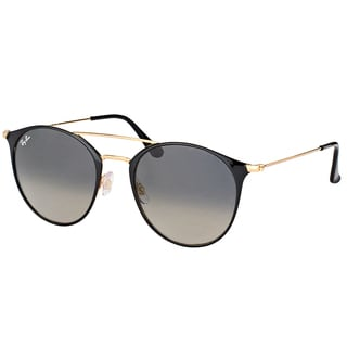 Ray-Ban RB 3546 187/71 Gold Top Black Metal Round Sunglasses with Grey Gradient Lens