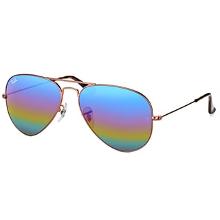 Ray-Ban RB 3025 9019C2 Classic Aviator Bronze Copper Metal Sunglasses with Green Rainbow Flash Mirror Lens