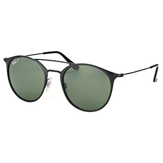 Ray-Ban RB 3546 186/9A Black Top Matte Black Metal Round Sunglasses with Green Polarized Lens