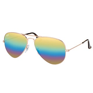 Ray-Ban RB 3025 9020C4 Classic Aviator Bronze Copper Metal Sunglasses Gold Rainbow Flash Mirror Lens