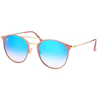 Ray-Ban RB 3546 90118B Gold Top Beige Metal Round Sunglasses with Blue Flash Mirror Gradient Lens