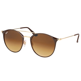 Ray-Ban RB 3546 900985 Gold Top Brown Metal Round Sunglasses with Brown Gradient Lens