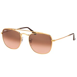 Ray-Ban RB 3557 9001A5 Light Bronze Metal Square Sunglasses with Brown Gradient Lens