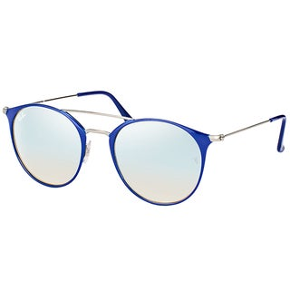 Ray-Ban RB 3546 90109U Gunmetal Top Blue Metal Round Sunglasses with Grey Flash Mirror Lens