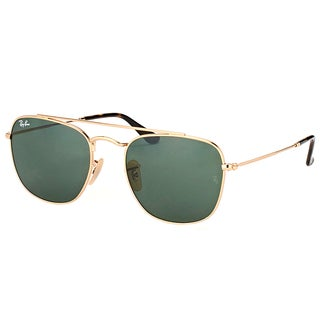 Ray-Ban RB 3557 001 Gold Metal Square Sunglasses with Green Lens
