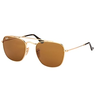 Ray-Ban RB 3557 001/33 Gold Metal Square Sunglasses with Brown Lens