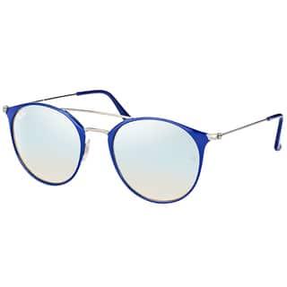 e5922a6346c Ray-Ban RB 3546 90109U Gunmetal Top Blue Metal Round Sunglasses with Grey  Flash Mirror