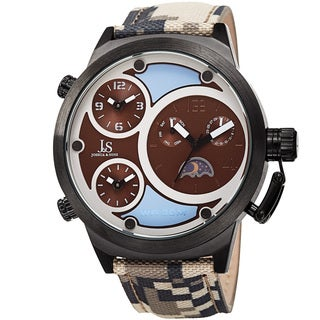 Joshua & Sons Men's Multifunction Triple Time Camouflage Brown Canvas Strap Watch