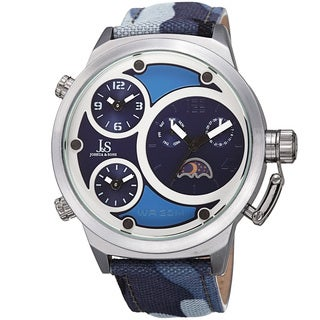 Joshua & Sons Men's Multifunction Triple Time Camouflage Blue Canvas Strap Watch