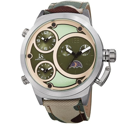 Joshua & Sons Men's Multifunction Triple Time Camouflage Green Canvas Strap Watch