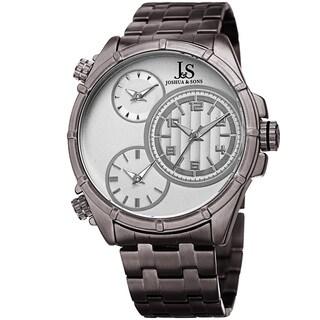 Joshua & Sons Men's Rugged Multifunction Triple Time Silver-Tone Stainless Steel Bracelet Watch