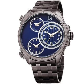 Joshua & Sons Men's Rugged Multifunction Triple Time Blue/Grey Stainless Steel Bracelet Watch