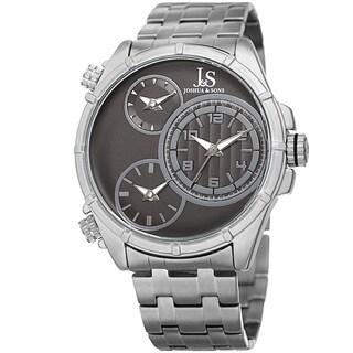 Joshua & Sons Men's Rugged Multifunction Triple Time Black/Silver-Tone Stainless Steel Bracelet Watc