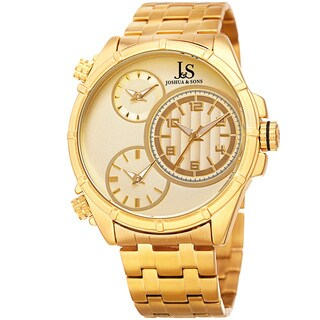 Joshua & Sons Men's Rugged Multifunction Triple Time Gold-Tone Stainless Steel Bracelet Watch