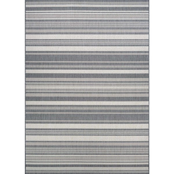 "Couristan Recife Gazebo Stripe Champagne and Grey Area Rug (8'6) - 8'6"" x 8'6"""