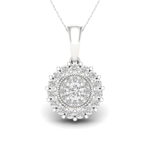 Sterling Silver 1/6ct TDW Diamond Composite Necklace - White