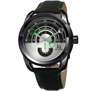 Joshua & Sons Men's Retrograde Arch-Themed Sporty Black Leather Strap Watch
