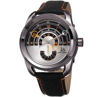 Joshua & Sons Men's Retrograde Arch-Themed Sporty Orange/Black Leather Strap Watch