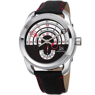 Joshua & Sons Men's Retrograde Arch-Themed Sporty Red/Black Leather Strap Watch