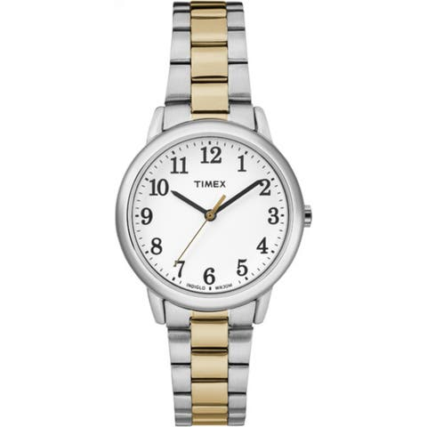 bb0b7755e Timex Women's TW2R23900 Easy Reader Two-Tone/White Stainless Steel Bracelet  Watch