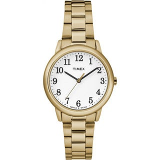 Timex Women's TW2R23800 Easy Reader Gold-Tone/White Stainless Steel Watch
