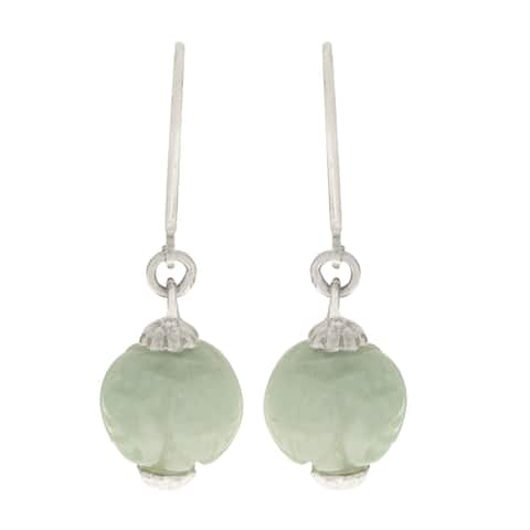 Gems For You Sterling Silver Carved Jade Bead Drop Earrings