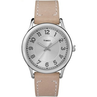 Timex New England Sand/Silver Leather Strap Watch