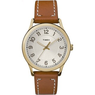 Timex Women's TW2R23000 New England Brown and Gold Leather Strap Watch