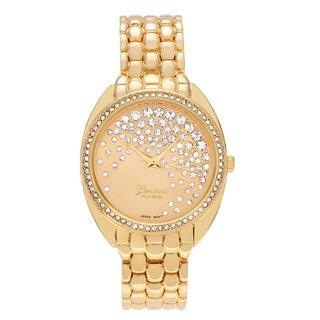 Geneva Platinum Women's Round Face Rhinestone Dial Panther Link Bracelet Watch